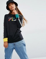 Fila Oversized Long Sleeve T-Shirt With Logo Tape Sleeves And Contrast Cuffs