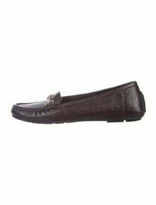 Gucci GG Logo Leather Loafers Brown