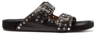 Isabel Marant Lennyo Suede And Leather Slides - Black
