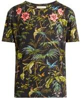 Gucci Jungle-print And Appliqué Linen T-shirt