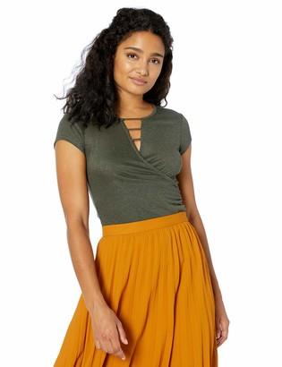 Amy Byer A. Byer Women's Short Sleeve Wrap Top