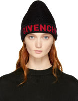 Givenchy Black and Red Logo Beanie