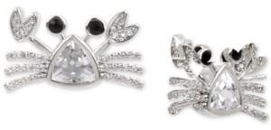Betsey Johnson Silver-Tone Crystal Crab Stud Earrings