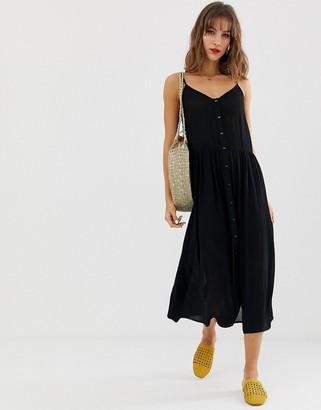 Vero Moda button front midi dress-Black