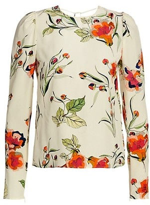 RED Valentino Floral Tie-Back Silk Blouse