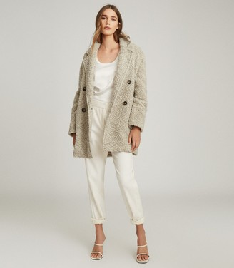 Reiss SKY WOOL BLEND TEDDY COAT Grey