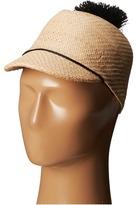 BCBGMAXAZRIA Solid Straw Pom Cap