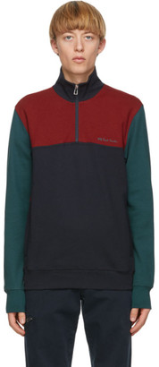 Paul Smith Navy Quarter Zip-Up Sweater
