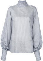 Bassike stripe funnel neck top - women - Silk/Viscose - 8