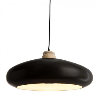 Home & Giftware Black Iron Pendant With Wood Finial Large