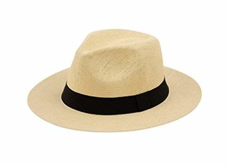 Angela & William Wide Brim Paper Straw Fedora Classic C Crown Panama Sun Hat (1 Size Fits Most) - brown - One size