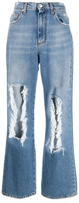 MSGM Distressed Straight-Leg Jeans