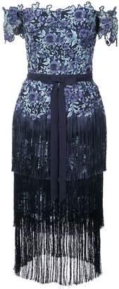 Marchesa off-the-shoulder fringed lace dress