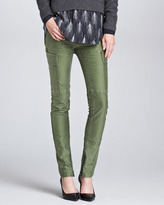 3.1 Phillip Lim Skinny Patchwork Cargo Pants, Army Green