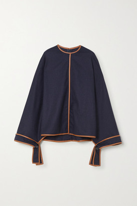 Stella McCartney Faux Leather-trimmed Wool Blouse - Navy