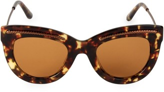 Bottega Veneta 49MM Etched Detail Cateye Sunglasses