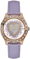 GUESS Purple and Rose Gold-Tone Glitter Heart Watch