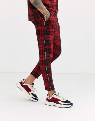 Good For Nothing co-ord skinny trousers in red tartan