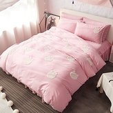 MAXYOYO Girl Furry Little Ball Edge Bed Skirt Cotton Bedding Set Size(1 Duvet Cover+ 1 Flat Sheet+ 2 Pillow Shams), Embroidery Pink Floral Pattern Duvet Cover Set for Girls/Women/Lady