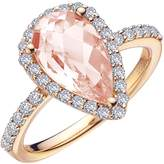 Lafonn Women's Pear Shape Halo Ring with Simulated Diamonds and Simulated Morganite