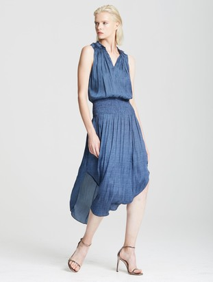 Halston Smocked Waist Dress