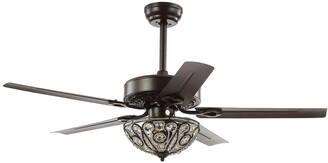 Jonathan Y Designs Ali 52In 3-Light Wrought Iron Led Ceiling Fan With Remote