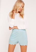 Missguided Scallop Edge Crepe Shorts Blue