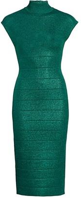 Herve Leger Mockneck Lurex Midi Dress