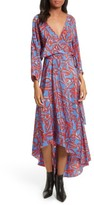 Diane von Furstenberg Women's Print Silk Asymmetrical Maxi Dress