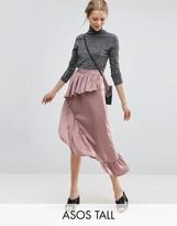 ASOS Tall ASOS TALL Deconstructed Midi Skirt in Satin