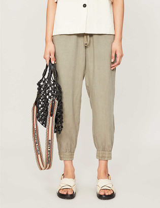 Bella Dahl Easy cropped high-rise woven jogging bottoms