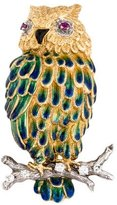 18K Ruby Eyed Enamel Owl with Diamonds Brooch