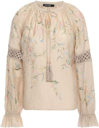 Love Sam Layla Crochet-trimmed Embroidered Cotton And Silk-blend Blouse
