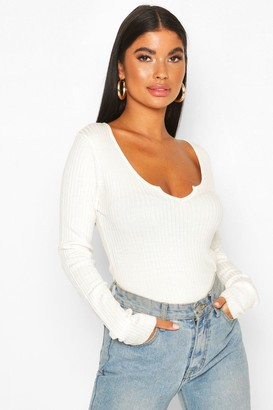 boohoo Petite Notch Neck Fine Knit Rib Bodysuit