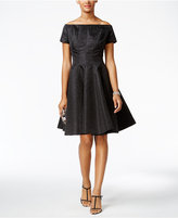 B Michael Off-The-Shoulder Brocade Fit & Flare Dress