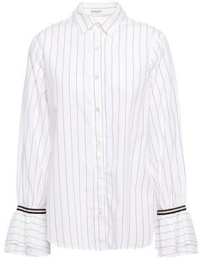 Stateside Grosgrain-trimmed Striped Cotton-poplin Shirt