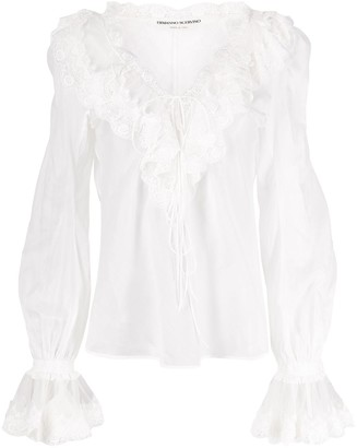 Ermanno Scervino Ruffled Lace-Detail Blouse