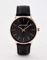 Asos Design DESIGN watch in black with rose gold case
