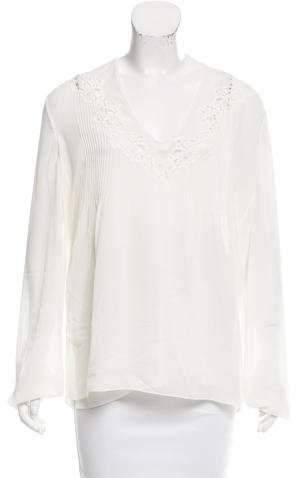 Chloé Lace-Paneled Silk Blouse