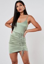 Missguided Green Stretch Satin Ruched Side Mini Dress