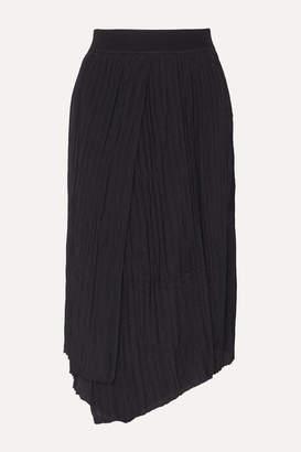 Vince Asymmetric Pleated Crepe Midi Skirt - Black