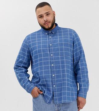 Asos DESIGN Plus oversized denim shirt with check print