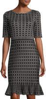 Neiman Marcus Geometric-Print Knit Dress