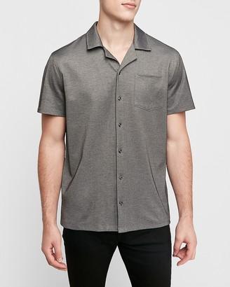 Express Camp Collar Moisture-Wicking Knit Performance T-Shirt