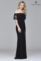 Faviana s7937 Off the shoulder jersey with hanging lace top