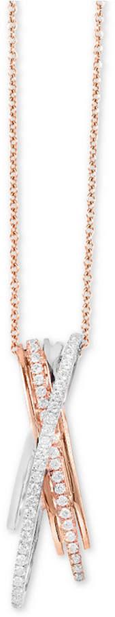 "Effy Diamond Crisscross 18"" Pendant Necklace (1/3 ct. t.w.) in 14k Rose & White Gold"