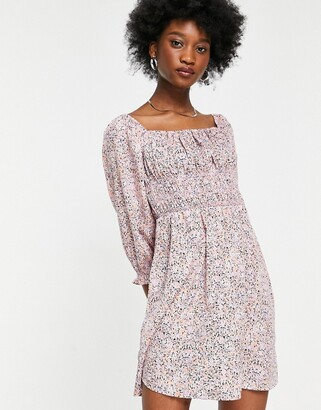 New Look shirred bust puff sleeve mini dress in lilac floral