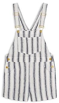 WeWoreWhat Linen Striped Short Overalls