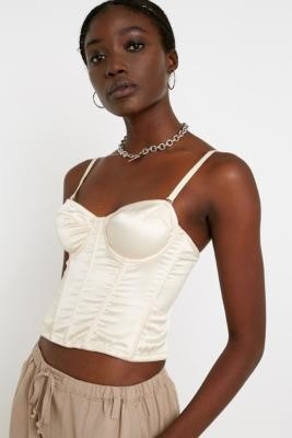 Urban Outfitters Ayla Bustier Cropped Cream Top - White XS at
