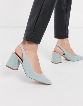 Asos Design DESIGN Samson slingback mid heels in denim